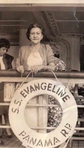 My Grandma Ebby on a cruise ship. I think this may be during the 1950s