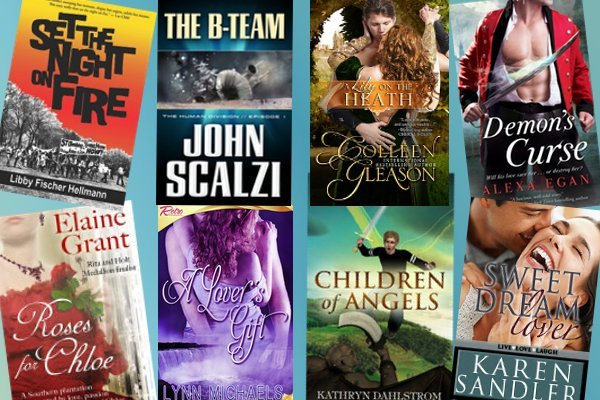 books from John Scalzi, Libby Hellman, Colleen Gleason, Alexa Egan, Elaine Grant, Lynn Michaels, Karen Sandler, Kathryn Dahlstrom