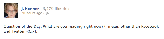 J. Kenner question to Facebook fans: what are you reading?