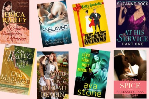 HumpDay books from Erica Ridley, Evangeline Anderson, Kitty Bucholtz, Suzanne Rock, Deb Marlowe, Delilah Devlin, Ava Stone, and Seressia Glass!